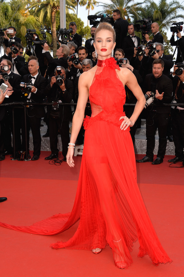 Rosie Huntington-Whiteley red dress cannes 2016