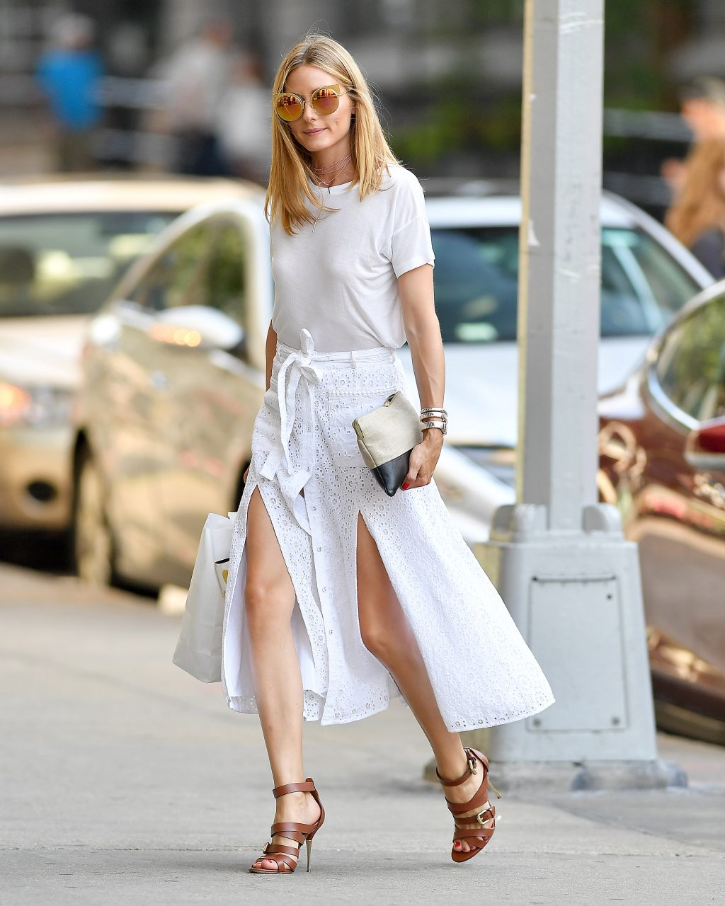EXCLUSIVE: Olivia Palermo seen wearing a white quilted skirt in Brooklyn, New York