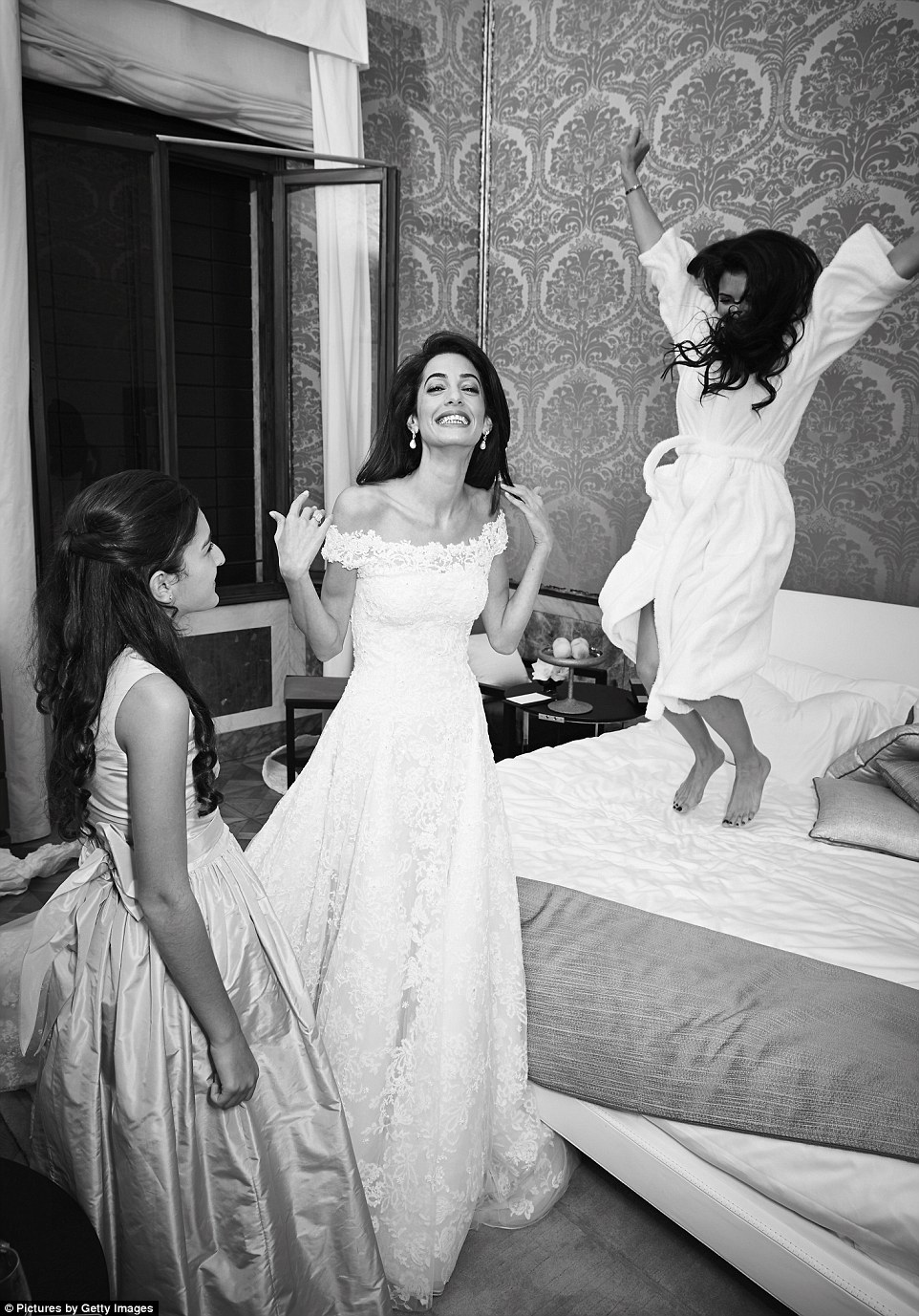 Amal Clooney wedding dress getting ready
