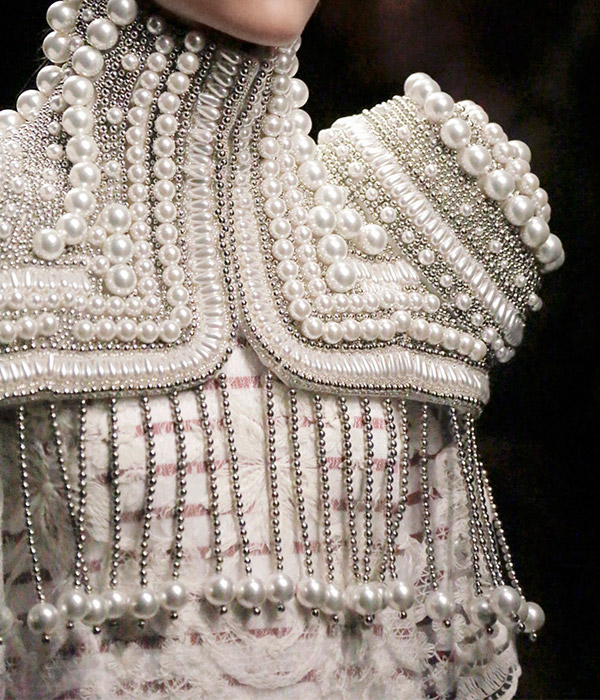Burberry cape with pearls