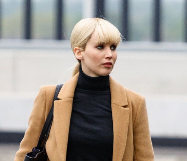 Jennifer Lawrence Filming Scenes At Heathrow Airport In London