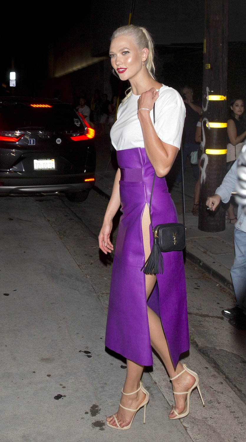 Karlie Kloss purple skirt