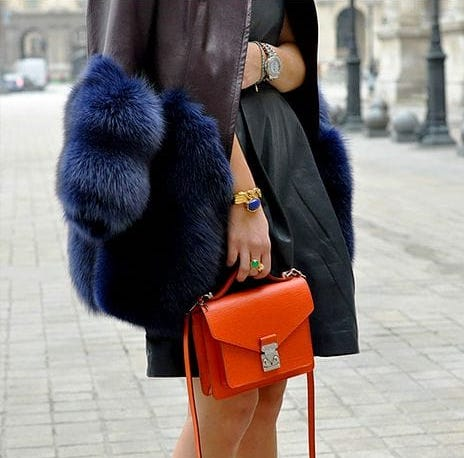 Orange Louis Vuitton bag style Monique Delapierre