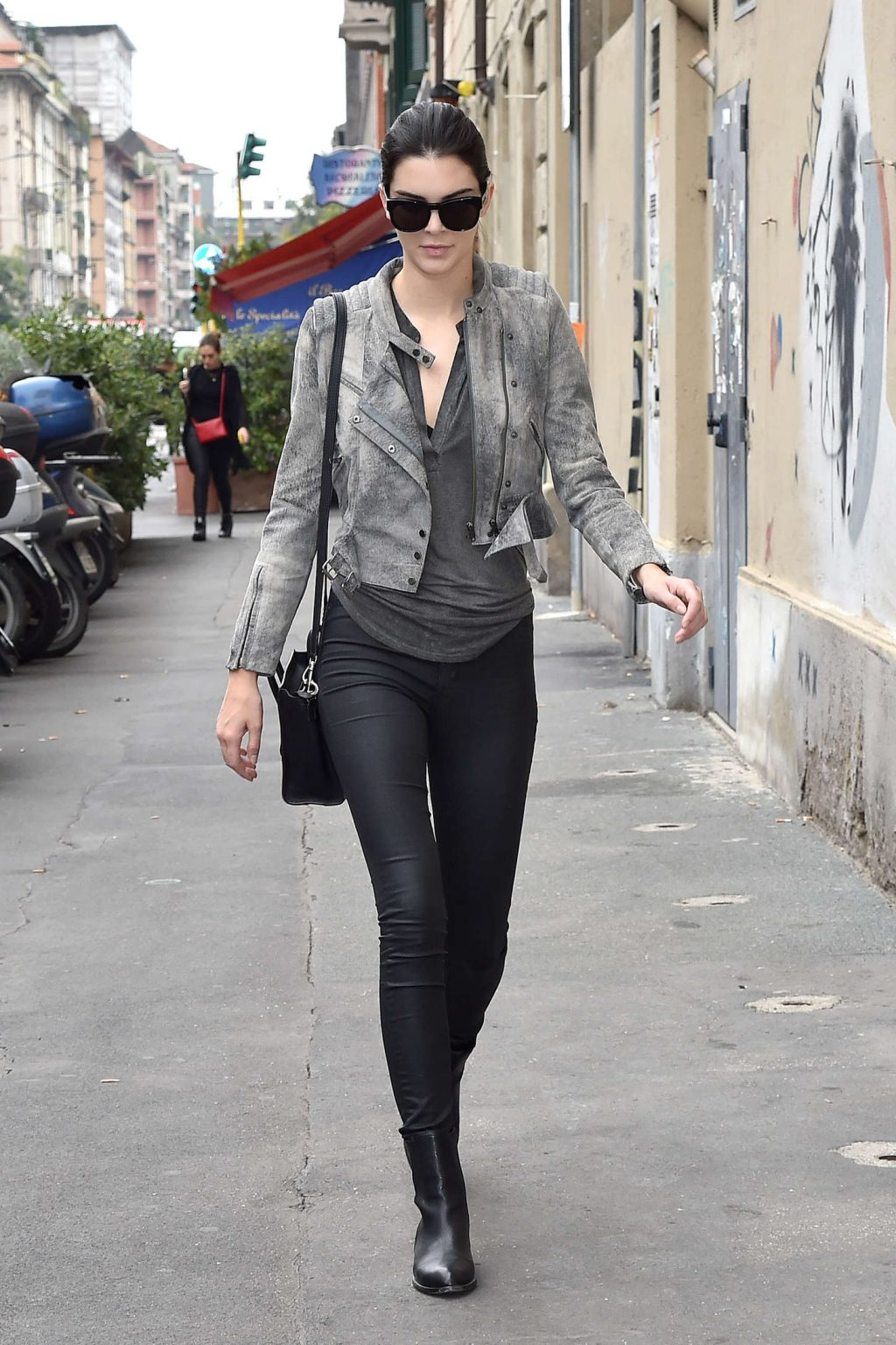 Kendall Jenner in Tights at Milan Fashion Week 2014