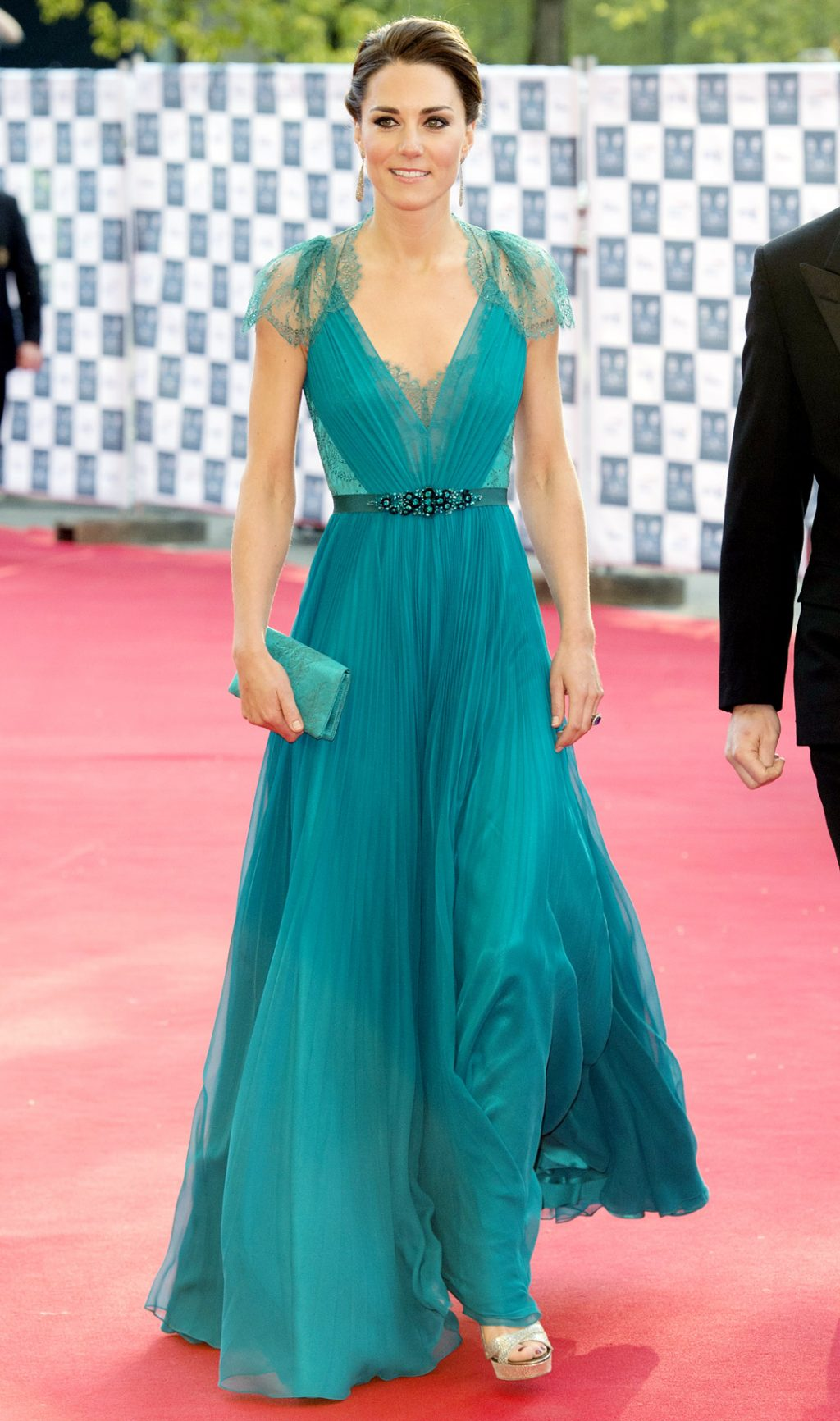 Kate Middleton Jenny Packham teal gown repeat